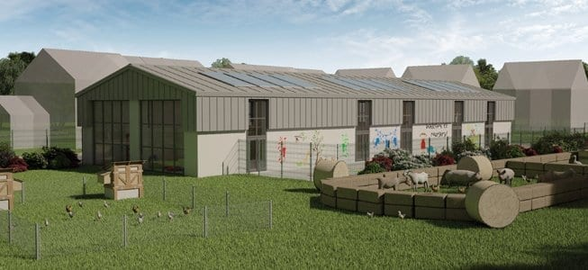 Farm animals will form a part of the nursery outdoor area